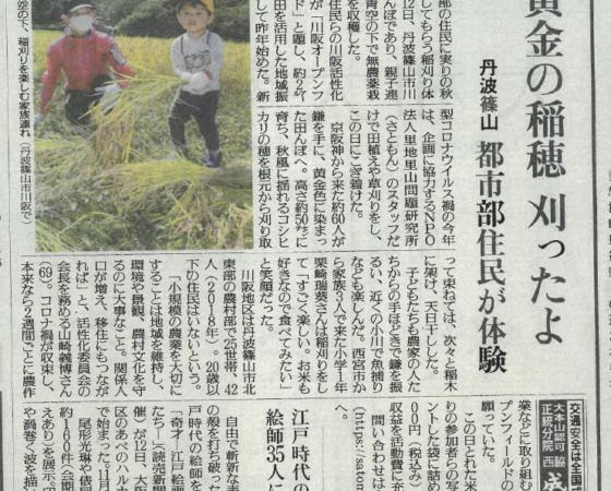 川阪の稲刈りが新聞に